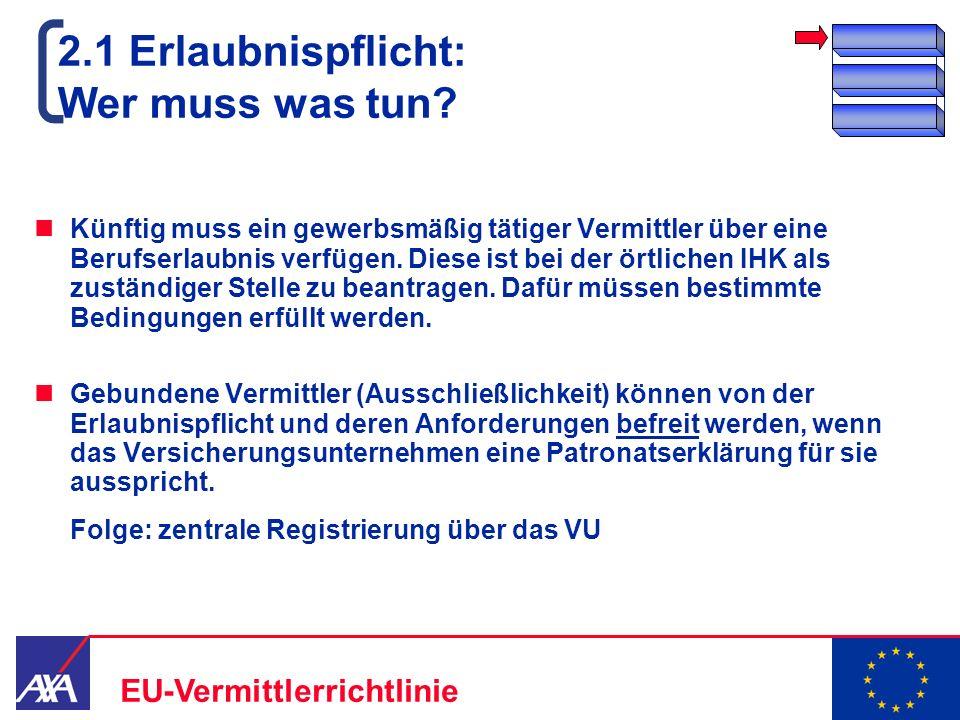 22.05.2006 7 EU-Vermittlerrichtlinie 2.1 Erlaubnispflicht: Wer muss was tun? Künftig muss ein gewerbsmäßig tätiger Vermittler über eine Berufserlaubni
