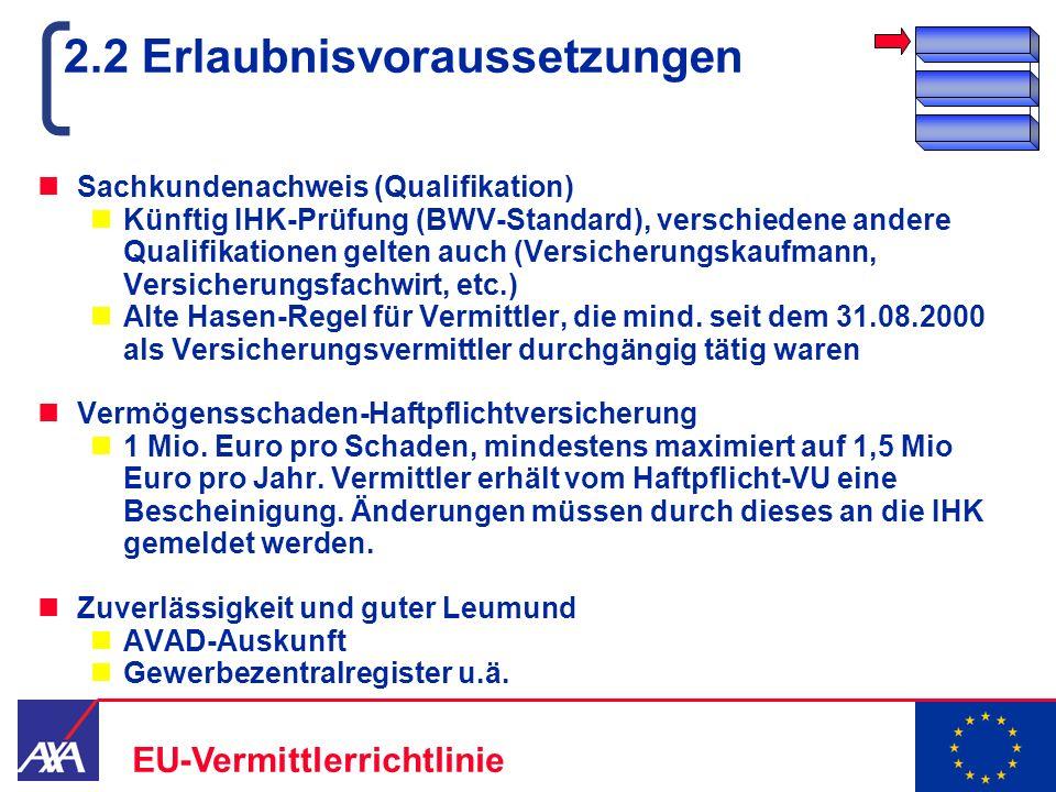 22.05.2006 8 EU-Vermittlerrichtlinie 2.2 Erlaubnisvoraussetzungen Sachkundenachweis (Qualifikation) Künftig IHK-Prüfung (BWV-Standard), verschiedene a