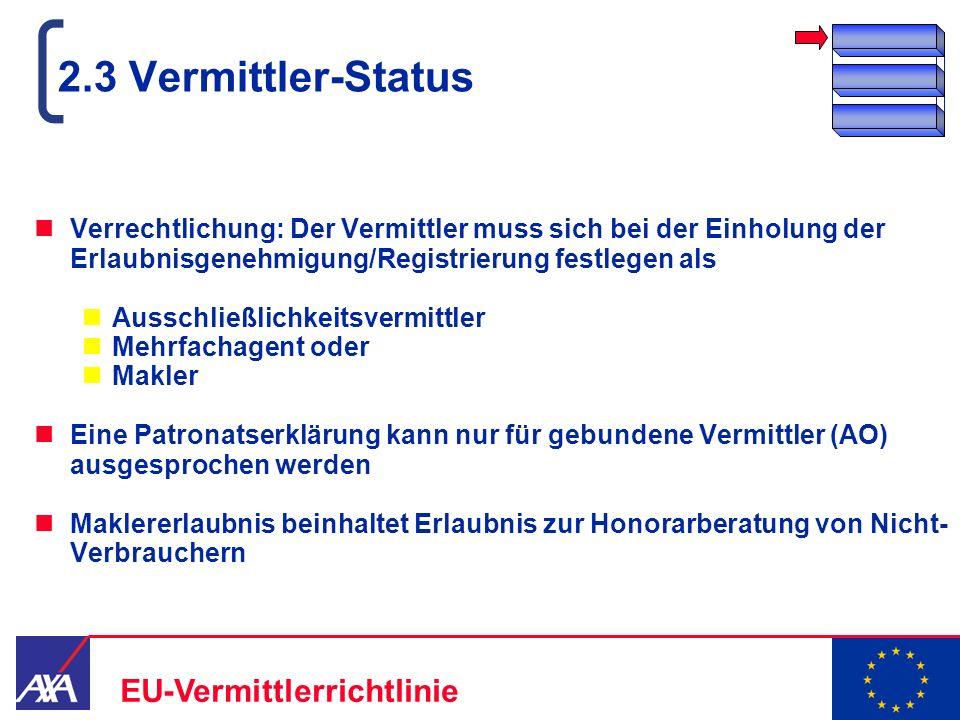 22.05.2006 9 EU-Vermittlerrichtlinie 2.3 Vermittler-Status Verrechtlichung: Der Vermittler muss sich bei der Einholung der Erlaubnisgenehmigung/Regist