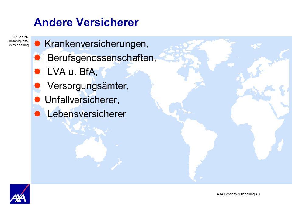 Die Berufs- unfähigkeits- versicherung AXA Lebensversicherung AG Andere Versicherer Krankenversicherungen, Berufsgenossenschaften, LVA u. BfA, Versorg