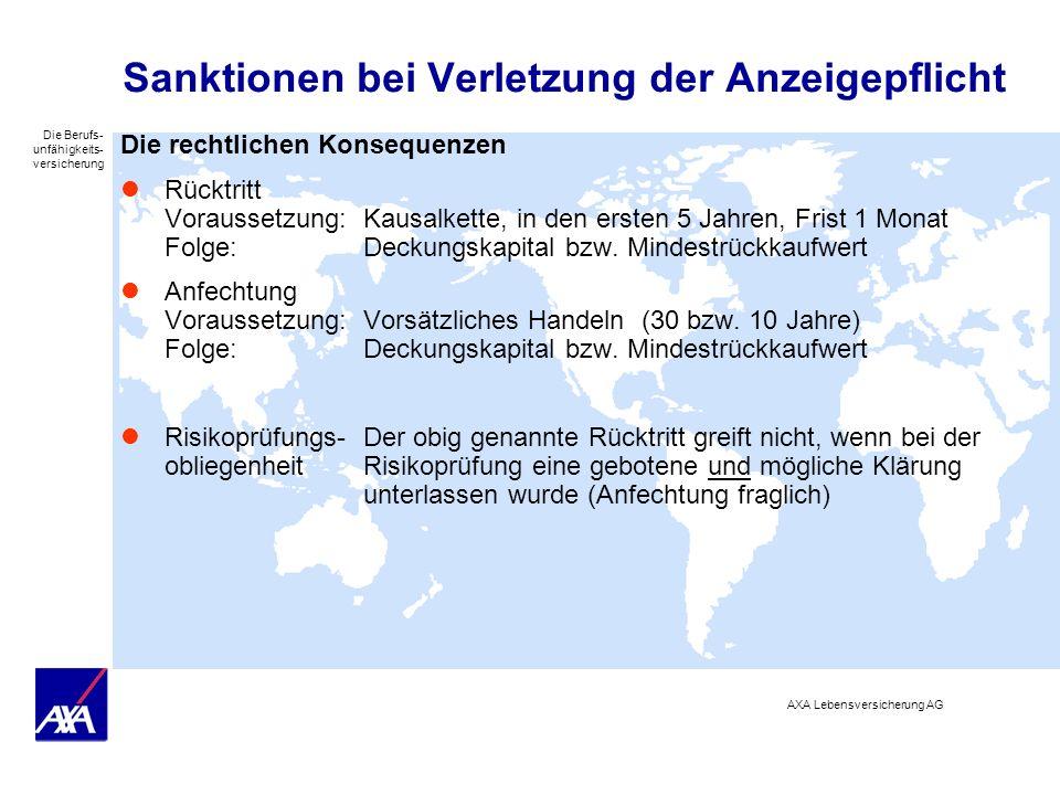 Die Berufs- unfähigkeits- versicherung AXA Lebensversicherung AG Sanktionen bei Verletzung der Anzeigepflicht Die rechtlichen Konsequenzen Rücktritt V