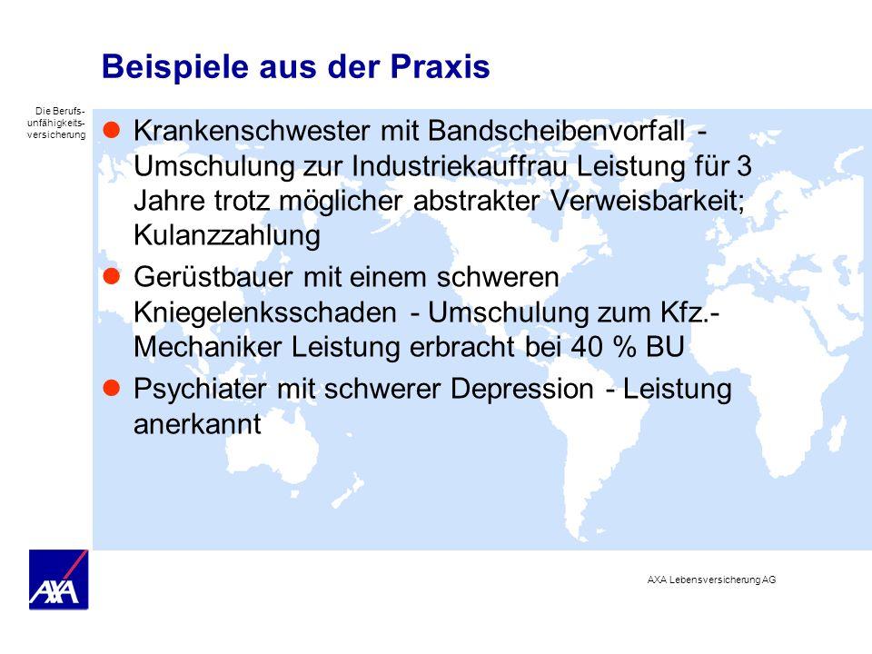Die Berufs- unfähigkeits- versicherung AXA Lebensversicherung AG Beispiele aus der Praxis Krankenschwester mit Bandscheibenvorfall - Umschulung zur In