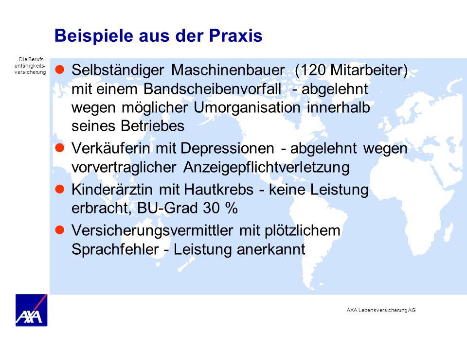 Die Berufs- unfähigkeits- versicherung AXA Lebensversicherung AG Beispiele aus der Praxis Selbständiger Maschinenbauer (120 Mitarbeiter) mit einem Ban
