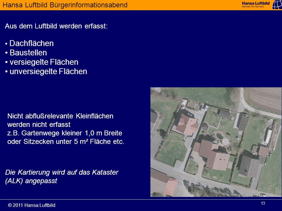 Hansa Luftbild Bürgerinformationsabend © 2011 Hansa Luftbild 13 Aus dem Luftbild werden erfasst: Dachflächen Baustellen versiegelte Flächen unversiege