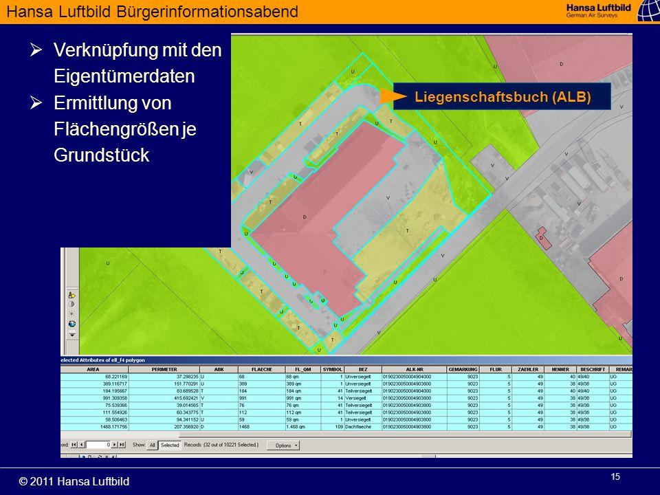 Hansa Luftbild Bürgerinformationsabend © 2011 Hansa Luftbild 15 Verknüpfung mit den Eigentümerdaten Ermittlung von Flächengrößen je Grundstück Liegens