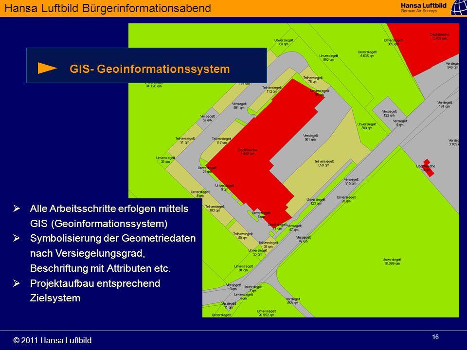 Hansa Luftbild Bürgerinformationsabend © 2011 Hansa Luftbild 16 Alle Arbeitsschritte erfolgen mittels GIS (Geoinformationssystem) Symbolisierung der G