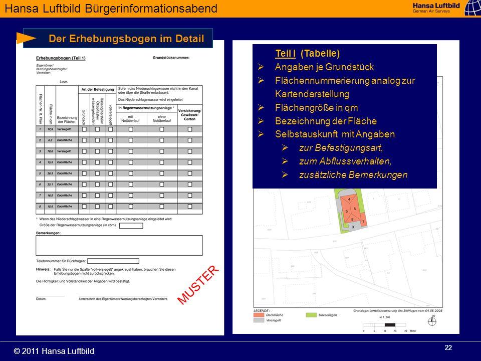 Hansa Luftbild Bürgerinformationsabend © 2011 Hansa Luftbild 22 Der Erhebungsbogen im Detail Teil I (Tabelle) Angaben je Grundstück Flächennummerierun