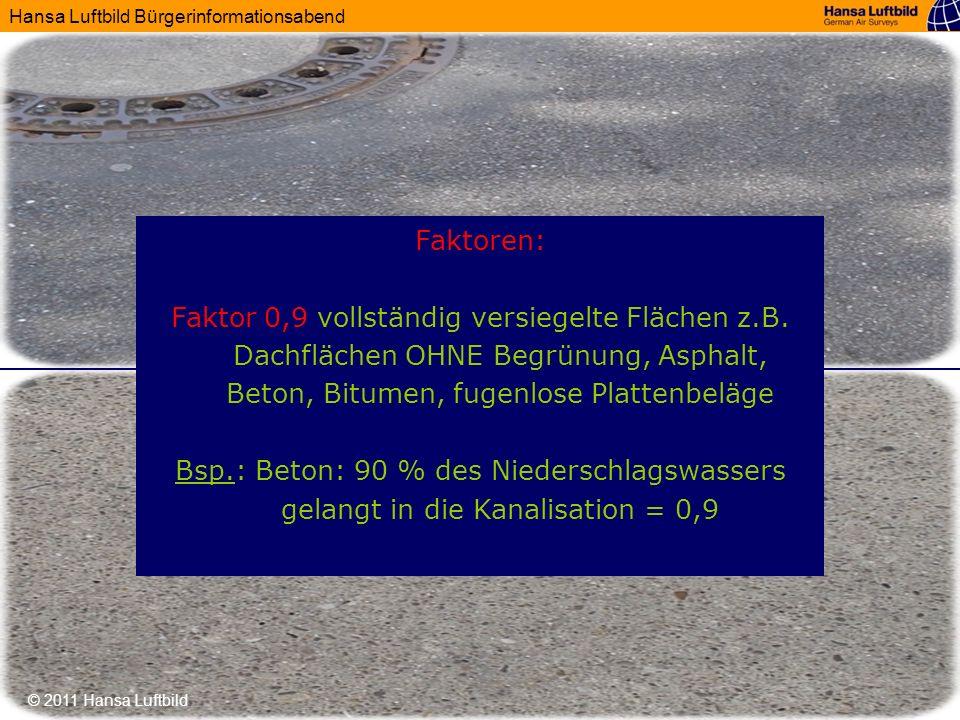 Hansa Luftbild Bürgerinformationsabend © 2011 Hansa Luftbild Faktoren: Faktor 0,9 vollständig versiegelte Flächen z.B. Dachflächen OHNE Begrünung, Asp