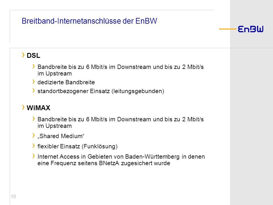 10 DSL Bandbreite bis zu 6 Mbit/s im Downstream und bis zu 2 Mbit/s im Upstream dedizierte Bandbreite standortbezogener Einsatz (leitungsgebunden) WiM
