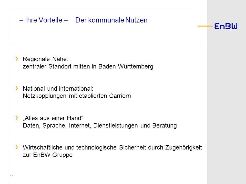 11 Regionale Nähe: zentraler Standort mitten in Baden-Württemberg National und international: Netzkopplungen mit etablierten Carriern Alles aus einer