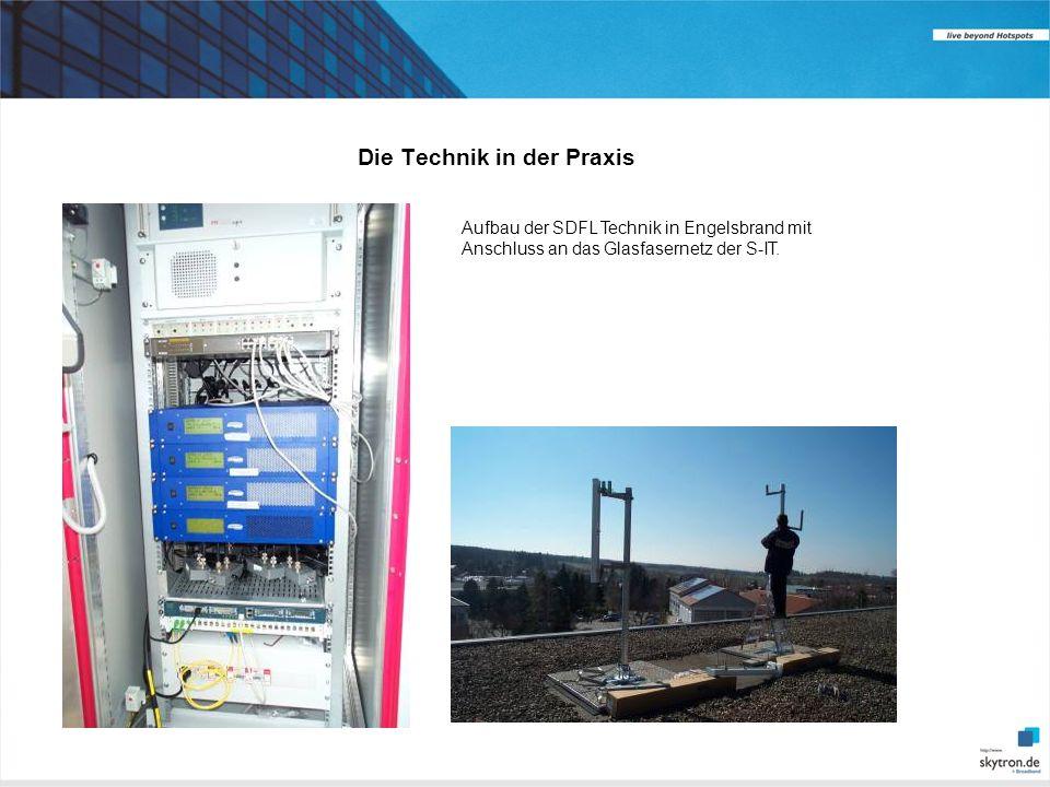 Die Technik in der Praxis Aufbau der SDFL Technik in Engelsbrand mit Anschluss an das Glasfasernetz der S-IT.