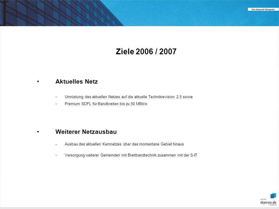 Ziele 2006 / 2007 Aktuelles Netz -Umrüstung des aktuellen Netzes auf die aktuelle Technikrevision 2.5 sowie -Premium SDFL für Bandbreiten bis zu 50 MBit/s Weiterer Netzausbau -Ausbau des aktuellen Kernnetzes über das momentane Gebiet hinaus -Versorgung weiterer Gemeinden mit Breitbandtechnik zusammen mit der S-IT