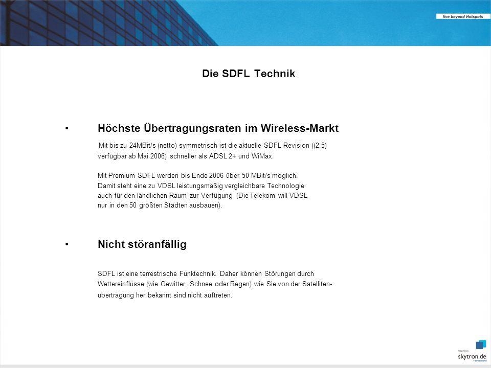 Die SDFL Technik Höchste Übertragungsraten im Wireless-Markt Mit bis zu 24MBit/s (netto) symmetrisch ist die aktuelle SDFL Revision ((2.5) verfügbar ab Mai 2006) schneller als ADSL 2+ und WiMax.