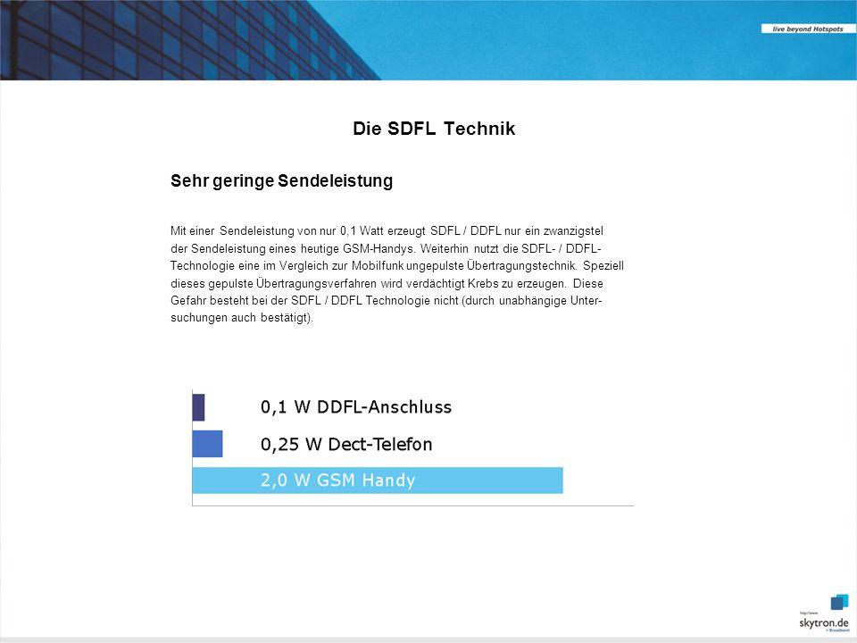 Die SDFL Technik Sehr geringe Sendeleistung Mit einer Sendeleistung von nur 0,1 Watt erzeugt SDFL / DDFL nur ein zwanzigstel der Sendeleistung eines heutige GSM-Handys.