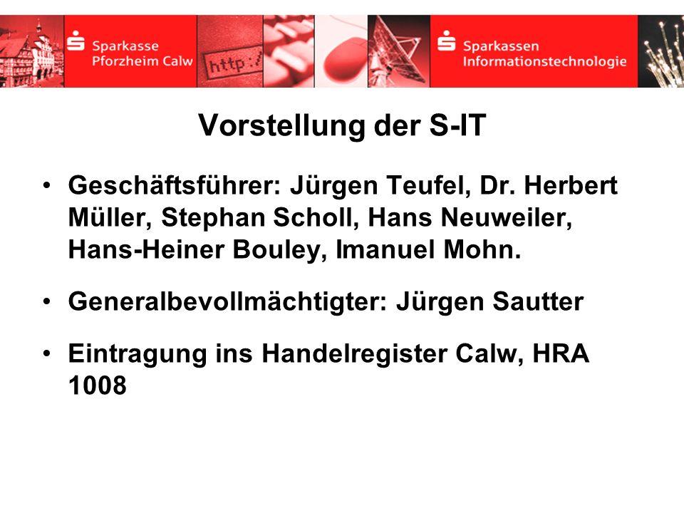 Vorstellung der S-IT Geschäftsführer: Jürgen Teufel, Dr. Herbert Müller, Stephan Scholl, Hans Neuweiler, Hans-Heiner Bouley, Imanuel Mohn. Generalbevo