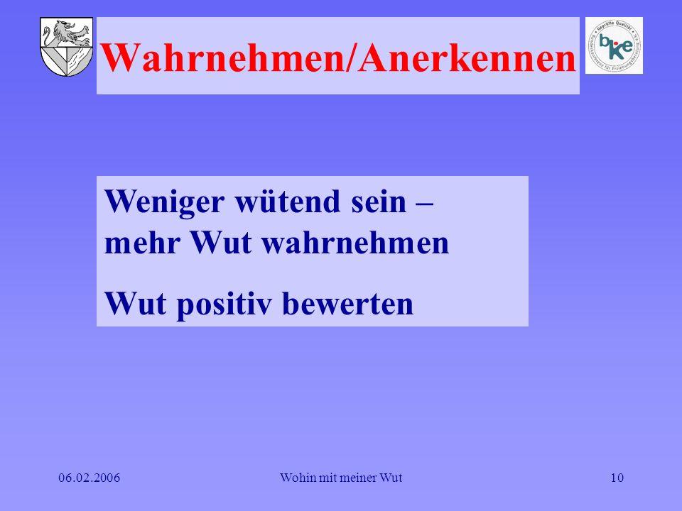 06.02.2006Wohin mit meiner Wut10 Wahrnehmen/Anerkennen Weniger wütend sein – mehr Wut wahrnehmen Wut positiv bewerten