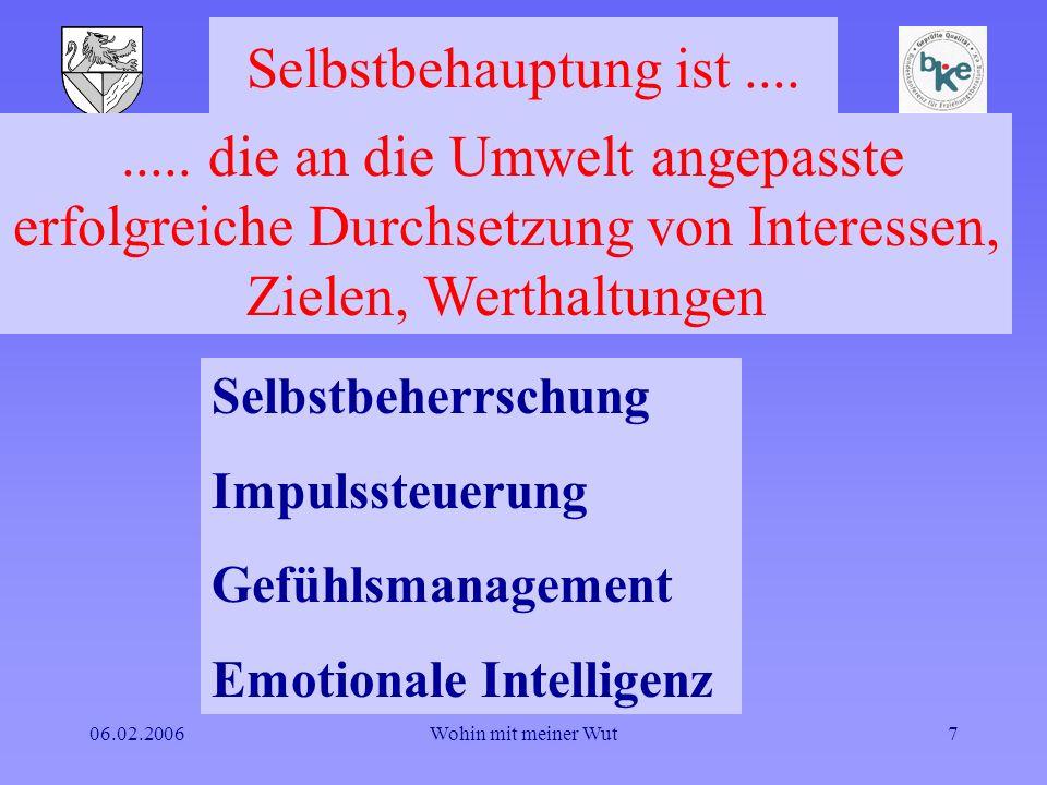 06.02.2006Wohin mit meiner Wut7 Selbstbehauptung ist.... Selbstbeherrschung Impulssteuerung Gefühlsmanagement Emotionale Intelligenz..... die an die U