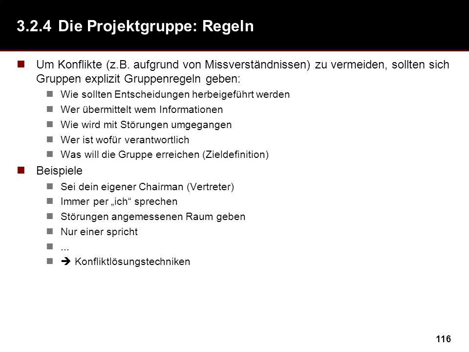 116 3.2.4Die Projektgruppe: Regeln Um Konflikte (z.B.