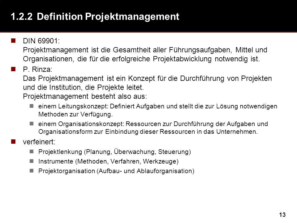 13 1.2.2Definition Projektmanagement DIN 69901: Projektmanagement ist die Gesamtheit aller Führungsaufgaben, Mittel und Organisationen, die für die erfolgreiche Projektabwicklung notwendig ist.