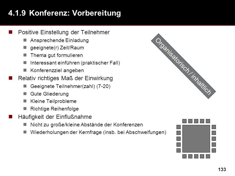 133 4.1.9Konferenz: Vorbereitung Positive Einstellung der Teilnehmer Ansprechende Einladung geeignete(r) Zeit/Raum Thema gut formulieren Interessant einführen (praktischer Fall) Konferenzziel angeben Relativ richtiges Maß der Einwirkung Geeignete Teilnehmer(zahl) (7-20) Gute Gliederung Kleine Teilprobleme Richtige Reihenfolge Häufigkeit der Einflußnahme Nicht zu große/kleine Abstände der Konferenzen Wiederholungen der Kernfrage (insb.