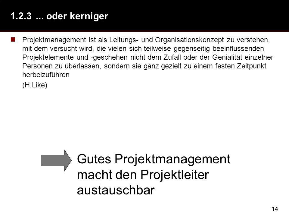 14 1.2.3... oder kerniger Projektmanagement ist als Leitungs- und Organisationskonzept zu verstehen, mit dem versucht wird, die vielen sich teilweise