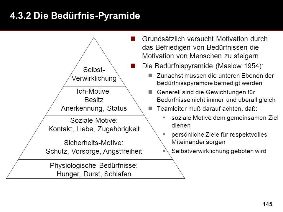 145 4.3.2 Die Bedürfnis-Pyramide Grundsätzlich versucht Motivation durch das Befriedigen von Bedürfnissen die Motivation von Menschen zu steigern Die Bedürfnispyramide (Maslow 1954): Zunächst müssen die unteren Ebenen der Bedürfnisspyramdie befriedigt werden Generell sind die Gewichtungen für Bedürfnisse nicht immer und überall gleich Teamleiter muß darauf achten, daß: soziale Motive dem gemeinsamen Ziel dienen persönliche Ziele für respektvolles Miteinander sorgen Selbstverwirklichung geboten wird Selbst- Verwirklichung Ich-Motive: Besitz Anerkennung, Status Soziale-Motive: Kontakt, Liebe, Zugehörigkeit Sicherheits-Motive: Schutz, Vorsorge, Angstfreiheit Physiologische Bedürfnisse: Hunger, Durst, Schlafen