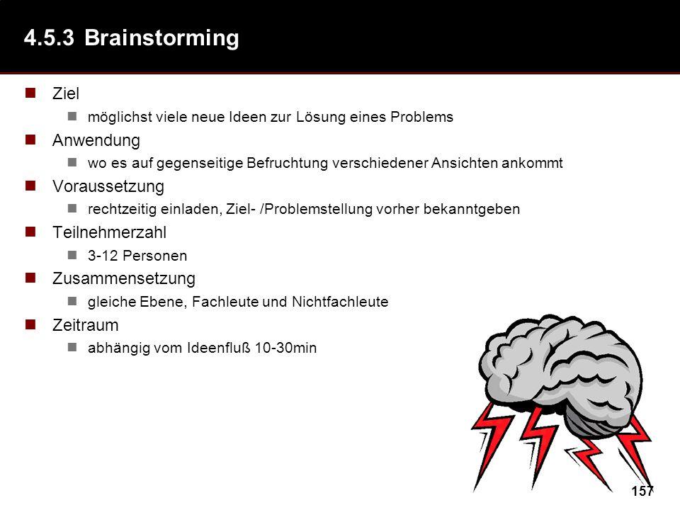 157 4.5.3Brainstorming Ziel möglichst viele neue Ideen zur Lösung eines Problems Anwendung wo es auf gegenseitige Befruchtung verschiedener Ansichten