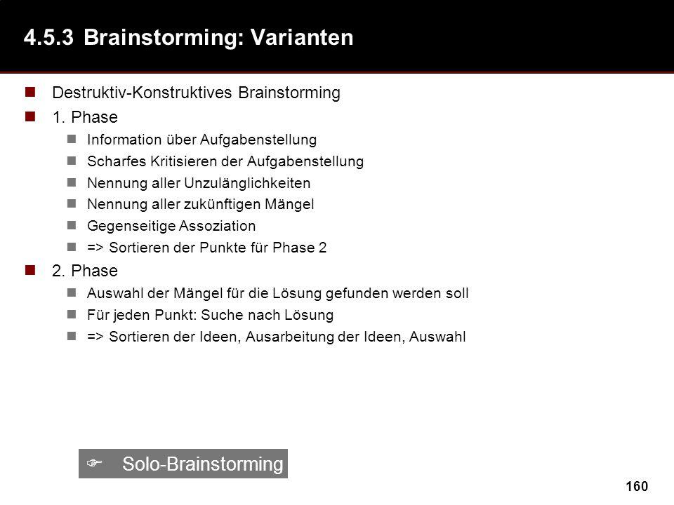 160 4.5.3Brainstorming: Varianten Destruktiv-Konstruktives Brainstorming 1. Phase Information über Aufgabenstellung Scharfes Kritisieren der Aufgabens