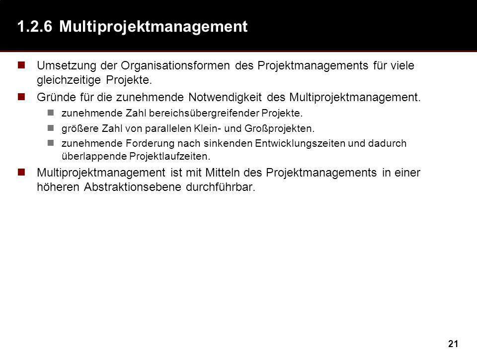 21 1.2.6Multiprojektmanagement Umsetzung der Organisationsformen des Projektmanagements für viele gleichzeitige Projekte.
