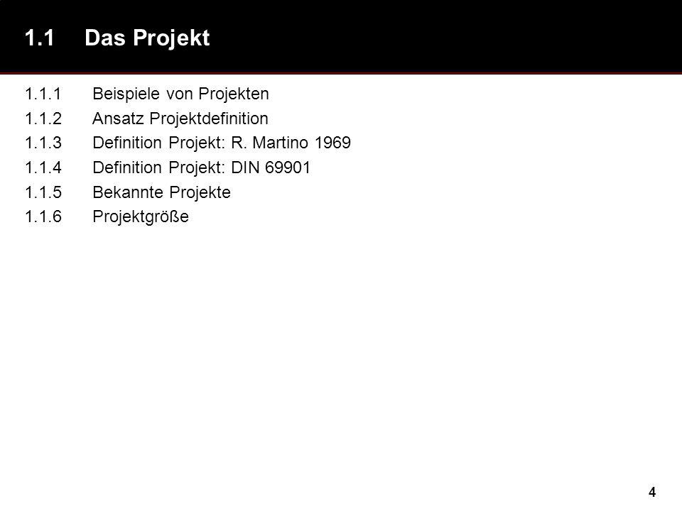 4 1.1Das Projekt 1.1.1Beispiele von Projekten 1.1.2Ansatz Projektdefinition 1.1.3Definition Projekt: R. Martino 1969 1.1.4Definition Projekt: DIN 6990