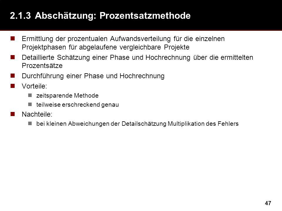 47 2.1.3Abschätzung: Prozentsatzmethode Ermittlung der prozentualen Aufwandsverteilung für die einzelnen Projektphasen für abgelaufene vergleichbare P