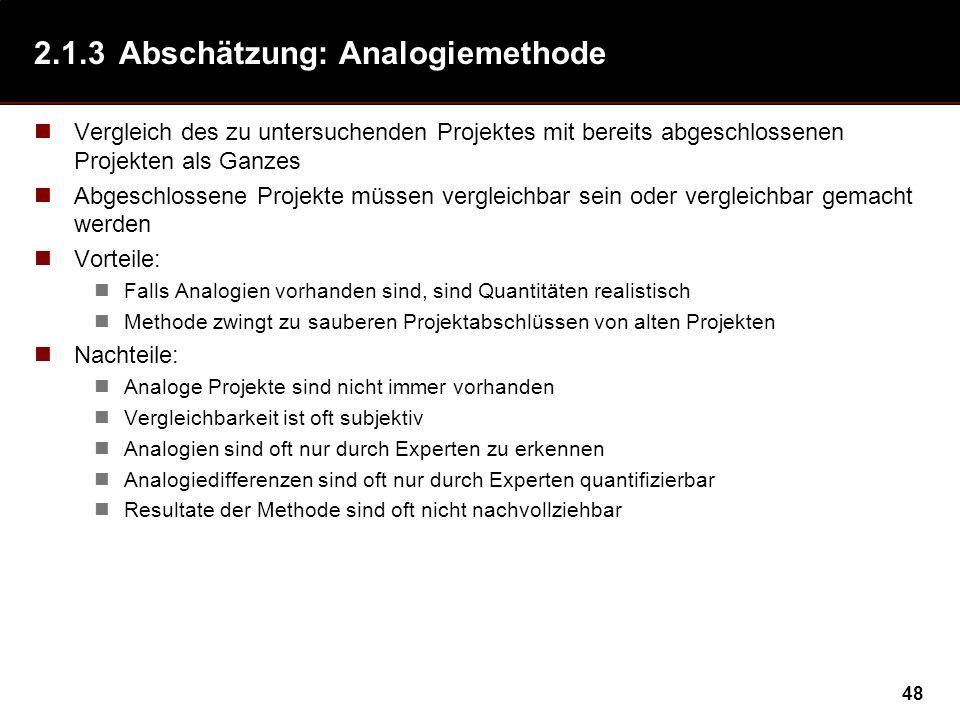 48 2.1.3Abschätzung: Analogiemethode Vergleich des zu untersuchenden Projektes mit bereits abgeschlossenen Projekten als Ganzes Abgeschlossene Projekt