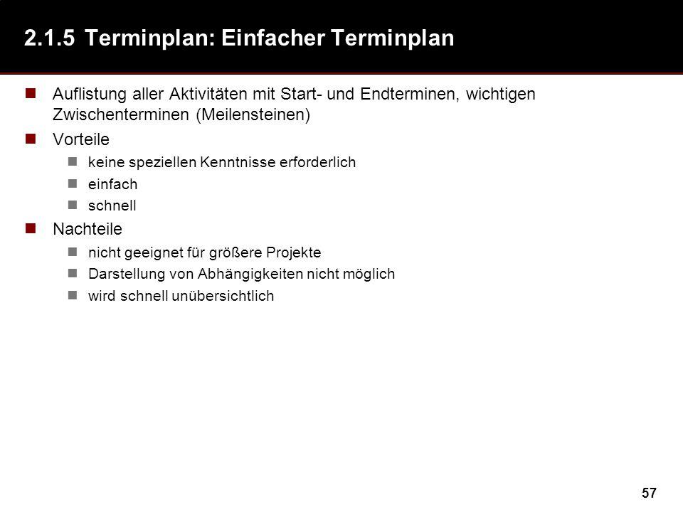 57 2.1.5Terminplan: Einfacher Terminplan Auflistung aller Aktivitäten mit Start- und Endterminen, wichtigen Zwischenterminen (Meilensteinen) Vorteile