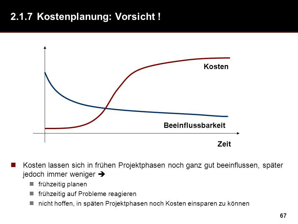 67 2.1.7Kostenplanung: Vorsicht ! Kosten lassen sich in frühen Projektphasen noch ganz gut beeinflussen, später jedoch immer weniger frühzeitig planen