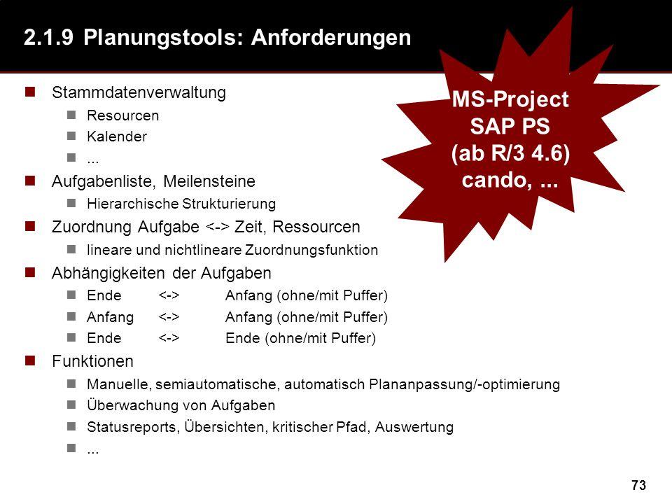 73 2.1.9Planungstools: Anforderungen Stammdatenverwaltung Resourcen Kalender... Aufgabenliste, Meilensteine Hierarchische Strukturierung Zuordnung Auf