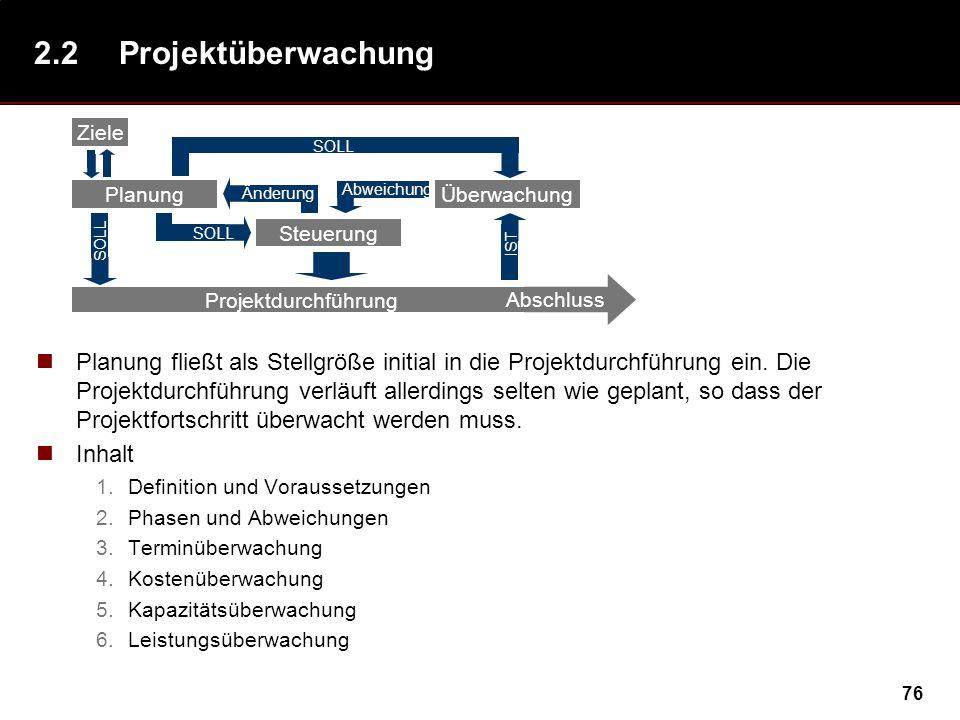 76 2.2Projektüberwachung Planung fließt als Stellgröße initial in die Projektdurchführung ein. Die Projektdurchführung verläuft allerdings selten wie
