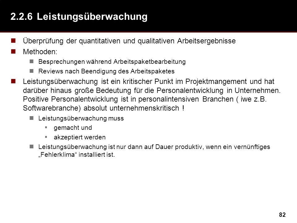 82 2.2.6Leistungsüberwachung Überprüfung der quantitativen und qualitativen Arbeitsergebnisse Methoden: Besprechungen während Arbeitspaketbearbeitung