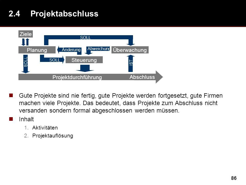 86 2.4Projektabschluss Gute Projekte sind nie fertig, gute Projekte werden fortgesetzt, gute Firmen machen viele Projekte.
