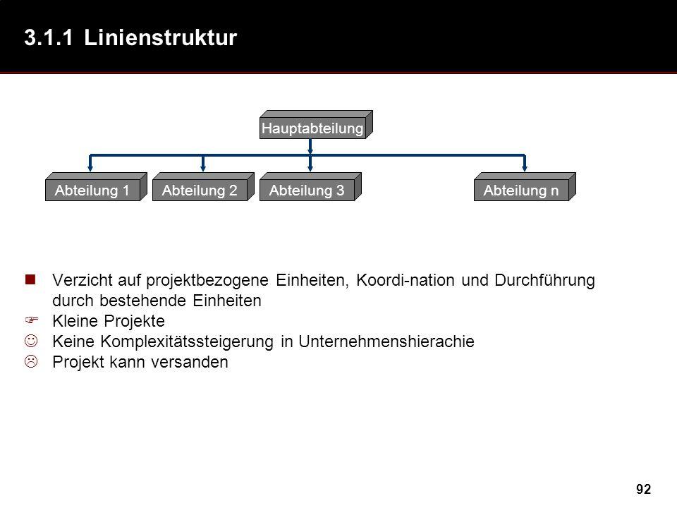 92 3.1.1Linienstruktur Verzicht auf projektbezogene Einheiten, Koordi-nation und Durchführung durch bestehende Einheiten Kleine Projekte Keine Komplex