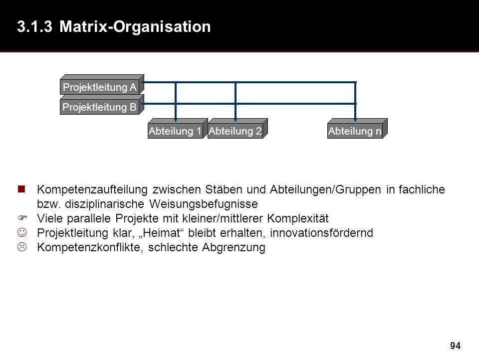 94 3.1.3Matrix-Organisation Kompetenzaufteilung zwischen Stäben und Abteilungen/Gruppen in fachliche bzw. disziplinarische Weisungsbefugnisse Viele pa