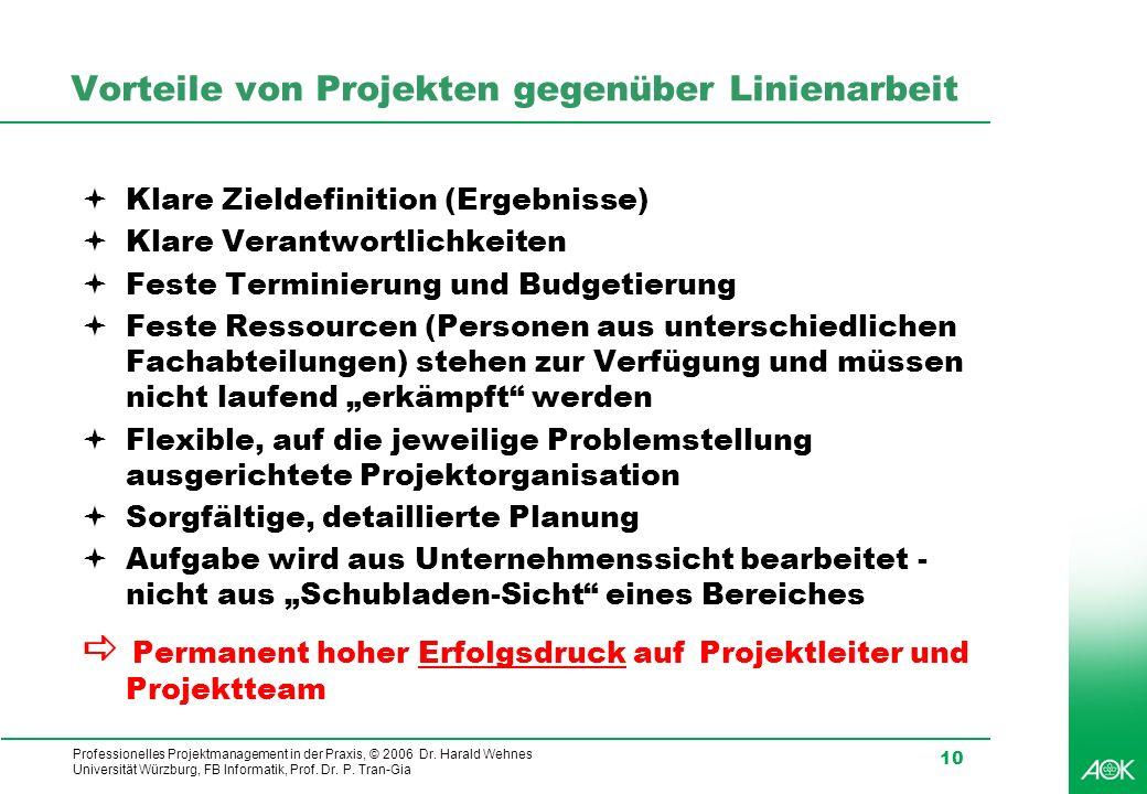 Professionelles Projektmanagement in der Praxis, © 2006 Dr. Harald Wehnes Universität Würzburg, FB Informatik, Prof. Dr. P. Tran-Gia 10 Vorteile von P