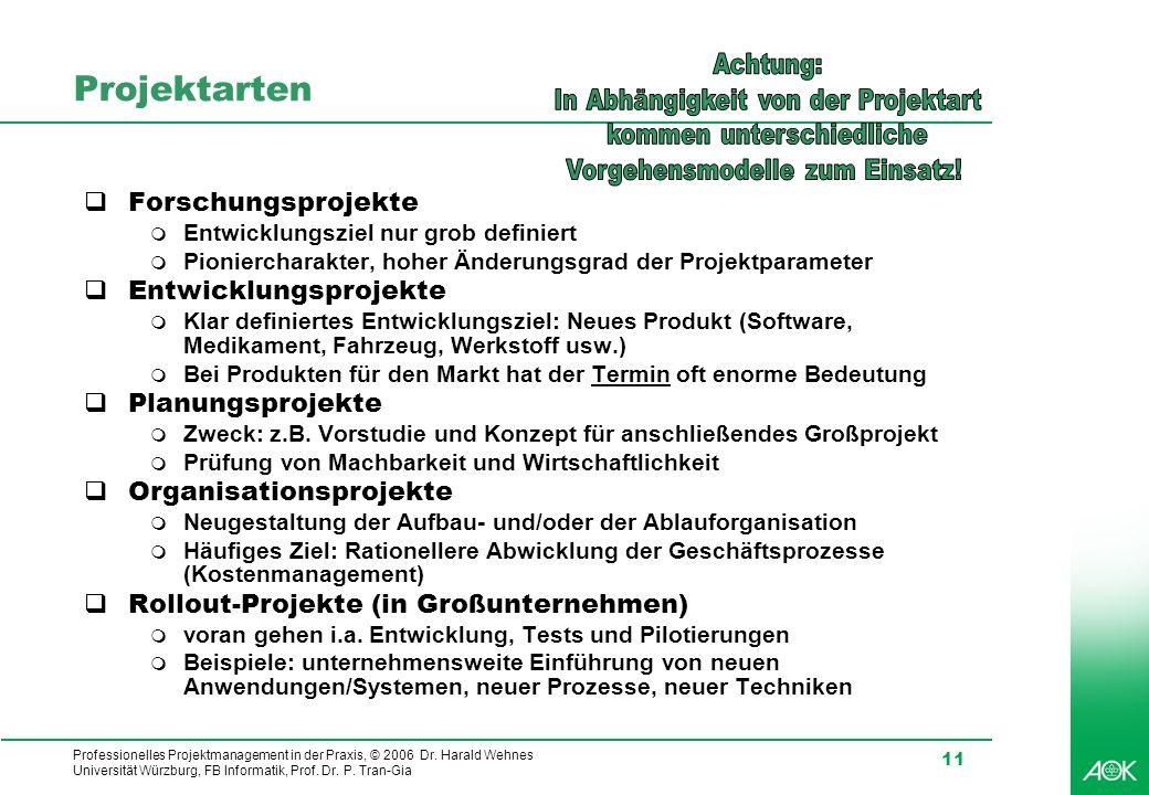 Professionelles Projektmanagement in der Praxis, © 2006 Dr. Harald Wehnes Universität Würzburg, FB Informatik, Prof. Dr. P. Tran-Gia 11 Projektarten F