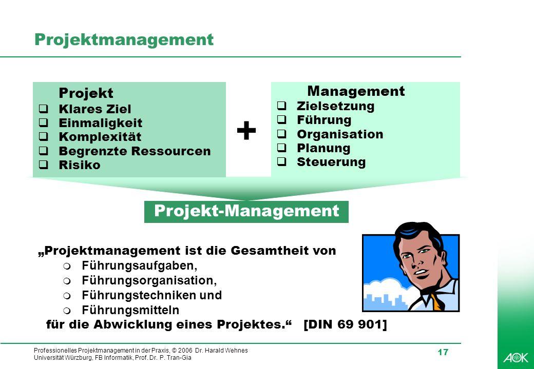 Professionelles Projektmanagement in der Praxis, © 2006 Dr. Harald Wehnes Universität Würzburg, FB Informatik, Prof. Dr. P. Tran-Gia 17 Projektmanagem