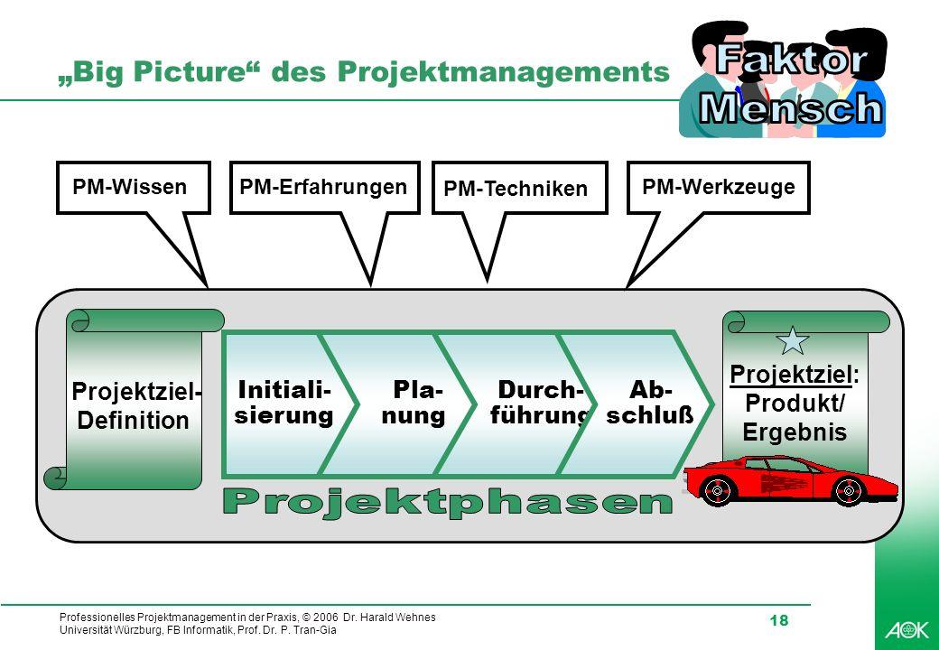 Professionelles Projektmanagement in der Praxis, © 2006 Dr. Harald Wehnes Universität Würzburg, FB Informatik, Prof. Dr. P. Tran-Gia 18 Big Picture de