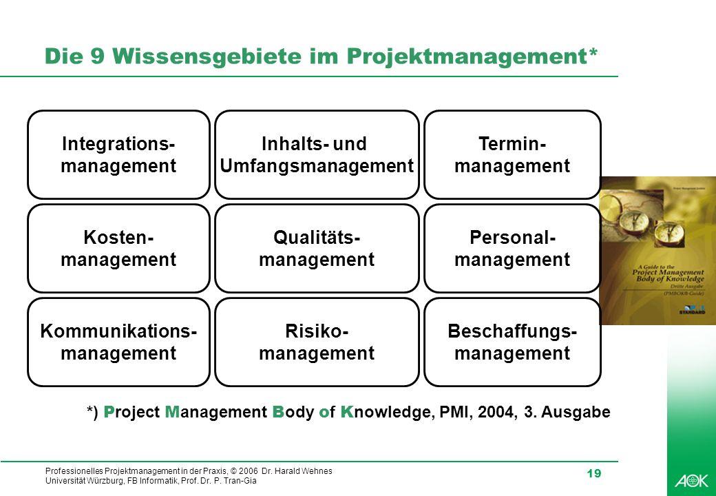 Professionelles Projektmanagement in der Praxis, © 2006 Dr. Harald Wehnes Universität Würzburg, FB Informatik, Prof. Dr. P. Tran-Gia 19 Die 9 Wissensg