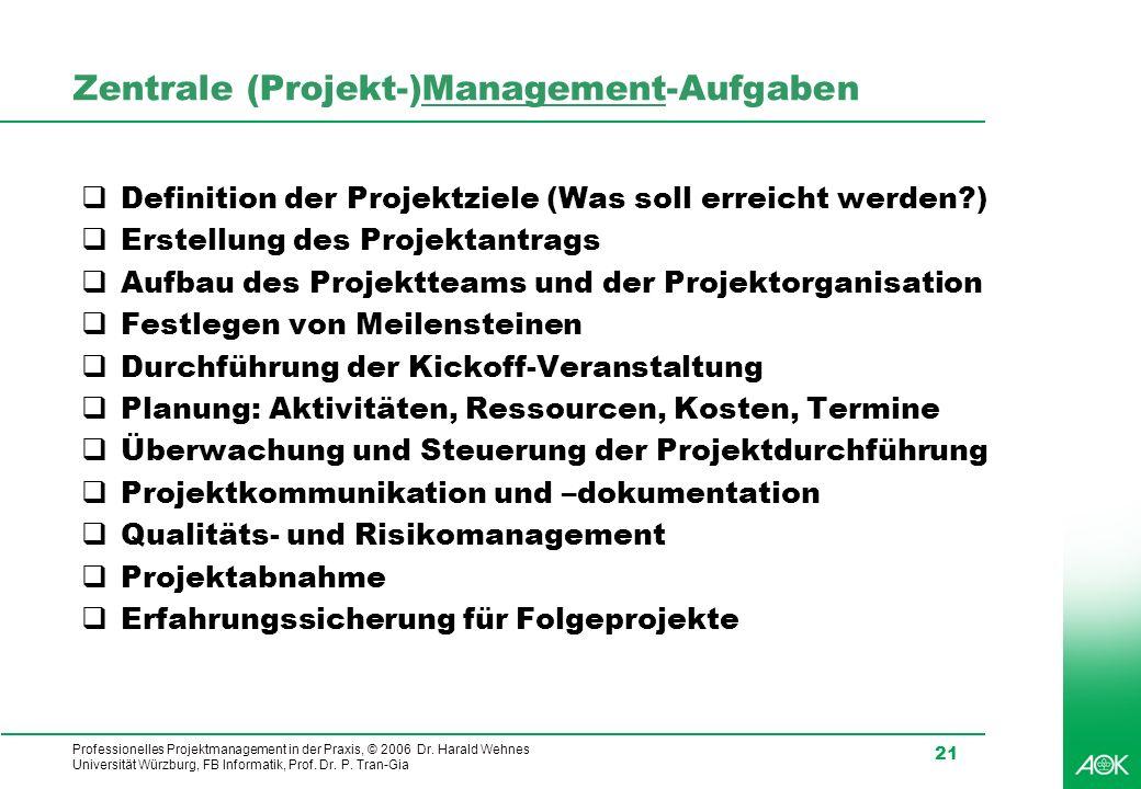 Professionelles Projektmanagement in der Praxis, © 2006 Dr. Harald Wehnes Universität Würzburg, FB Informatik, Prof. Dr. P. Tran-Gia 21 Zentrale (Proj