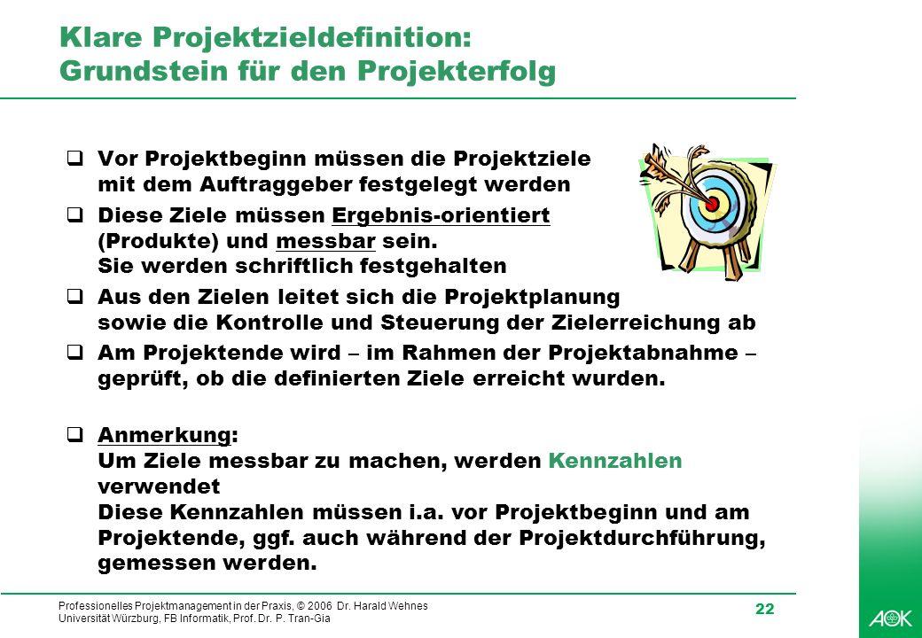 Professionelles Projektmanagement in der Praxis, © 2006 Dr. Harald Wehnes Universität Würzburg, FB Informatik, Prof. Dr. P. Tran-Gia 22 Klare Projektz