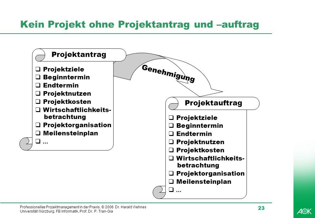 Professionelles Projektmanagement in der Praxis, © 2006 Dr. Harald Wehnes Universität Würzburg, FB Informatik, Prof. Dr. P. Tran-Gia 23 Genehmigung Ke
