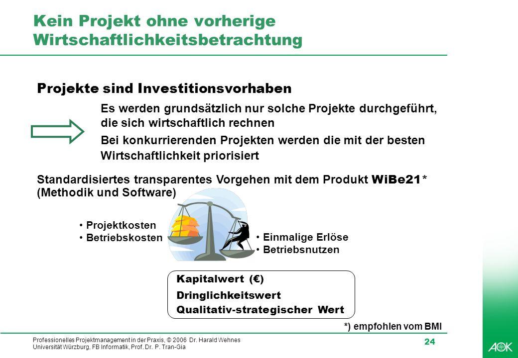 Professionelles Projektmanagement in der Praxis, © 2006 Dr. Harald Wehnes Universität Würzburg, FB Informatik, Prof. Dr. P. Tran-Gia 24 Kein Projekt o