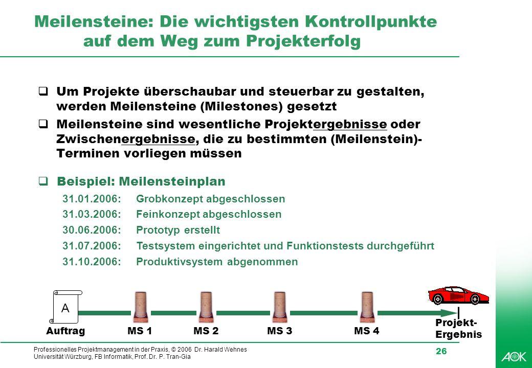 Professionelles Projektmanagement in der Praxis, © 2006 Dr. Harald Wehnes Universität Würzburg, FB Informatik, Prof. Dr. P. Tran-Gia 26 Meilensteine: